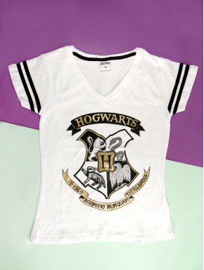 Camiseta chica Harry Potter Escudo Hogwarts blanca