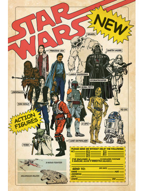 Poster Star Wars Action Figures 40 Aniversario
