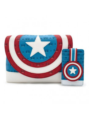 Pack Bolso y Tarjetero Capitán América Funko Pop Loungefly
