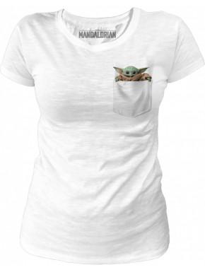 Camiseta Chica The Mandalorian Baby Yoda Bolsillo