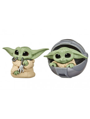 Pack 2 Figuras Baby Yoda Bounty Collection Mandalorian Capazo + Collar