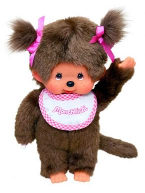 Monchhichi con babero blanco y rosa 20cm