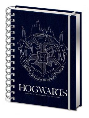 Cuaderno A5 espiral Escudo Hogwarts Plata