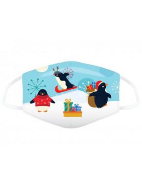 Mascarilla Infantil Reutilizable Pingüinos Navidad