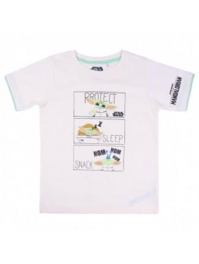 Camiseta corta blanca Baby Yoda Mandalorian