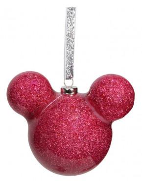 Adorno navideño Mickey Mouse con purpurina rosa