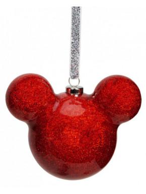Adorno navideño Mickey Mouse purpurina roja