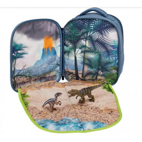 Mochila de dinosaurios 3D con figuras de dinosaurios y librito