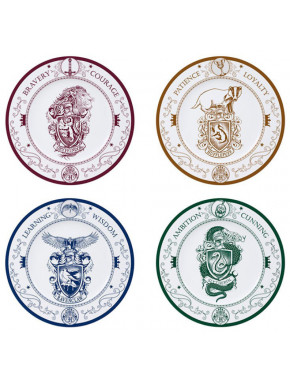 HARRY POTTER - Set of 4 Plates - Hogwarts Houses