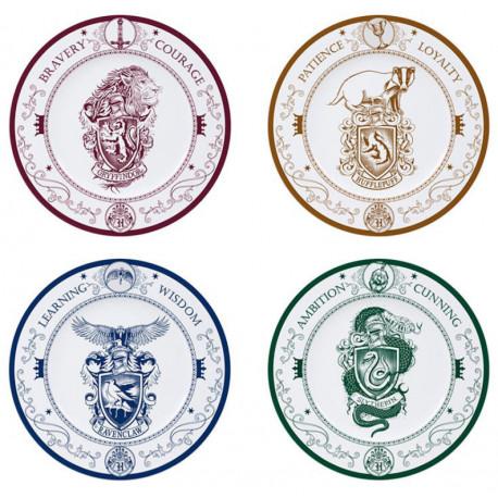 HARRY POTTER - Set of 4 Plates - Hogwarts Houses