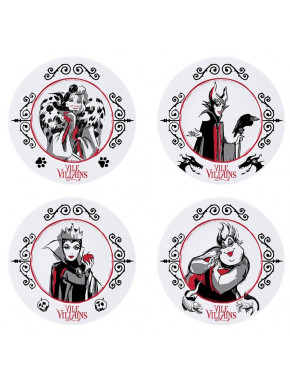 DISNEY - Set of 4 Plates - Disney Villains