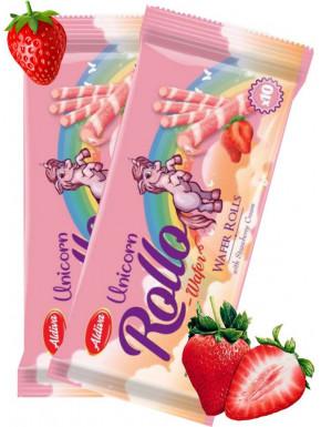 Rollo barquillo fresa unicornio