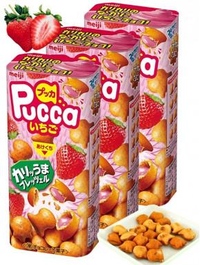 Pretzel de fresa Pucca Meiji 39gr