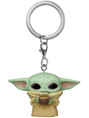 Mini Funko Pop! Llavero The Mandalorian Baby Yoda con taza
