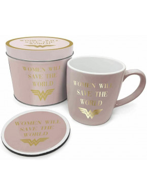 Lata regalo taza + posavasos Wonder Woman