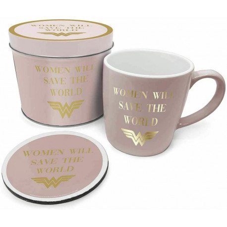 Lata regalo taza + posavasos Wonder Woman