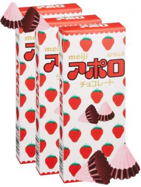 Conitos de Chocolate y Fresa Apollo Meiji