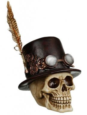 Figura Calavera Sombrero con Pluma