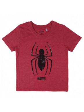 Camiseta manga corta con lentejuelas de Spiderman