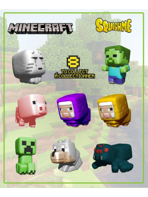 Minecraft Figuras Antiestrés Squishme 6 cm Serie 1 Expositor (24)