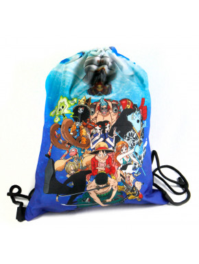 Mochila saco One Piece con personajes: Luffy, Zoro, Chopper, nami...