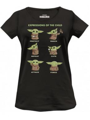Camiseta chica Baby Yoda Expresiones El Mandaloriano