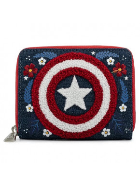 Marvel by Loungefly Monedero Captain America 80th Anniversary Floral Shield