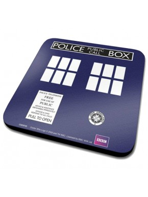 Doctor Who set 6 Posavasos Tardis corcho