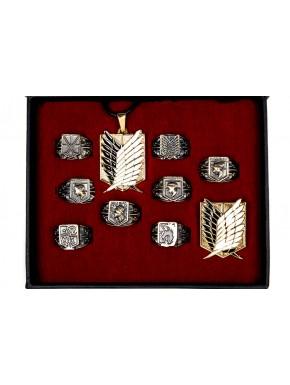 Attack on Titan anillos broche y colgante bronce
